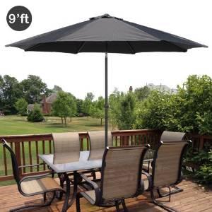 GotHobby 9ft Outdoor Patio Umbrella Aluminum w/ Tilt Crank - Black