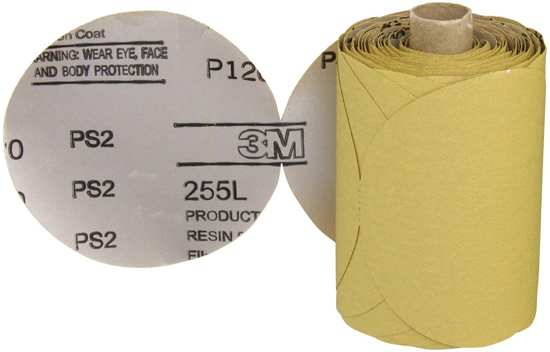 "3M Stikit Gold Film Disc Roll 255L, PSA Attachment, Aluminum Oxide, 5"" Diameter, P120 Grit (Roll of 125)"
