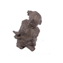 Inventory hot sale famous garden metal art and crafts children reading sculpture
