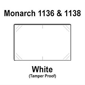 112,000 Monarch 1136/1138 compatible White General Purpose Labels for Monarch 1136, Monarch 1138 Price Guns. Full Case + 8 ink rollers. WITH Security Cuts.