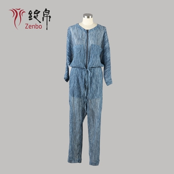 Cotton Silk Crinkle Chiffon Fabric Casual Transparent Ladies Jumpsuit