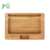 Small Natural Bamboo Rolling Tray with carved compartments Non-slip mat