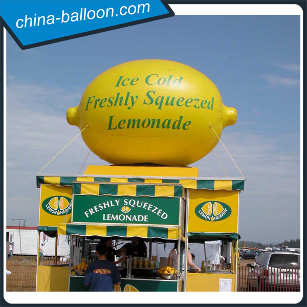 giant inflatable lemon model with logo printing/ customized inflatable fruit replica