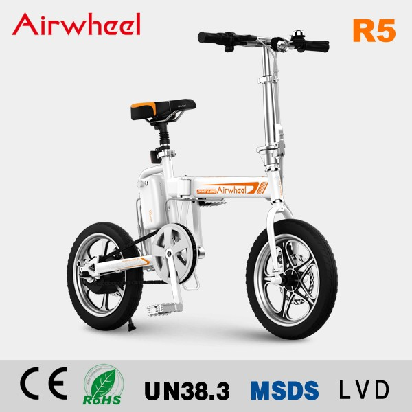 Pedal assisted Airwheel R5 two wheels 16inch folding e bike electric bike China electric moped