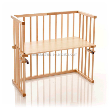 Wooden Designer New Born Baby Bed Attachable Cot