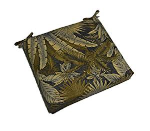 "Indoor / Outdoor Tommy Bahama Bahamian Breeze Tropical Palm Leaf Floral - Black, Green, Tan 17"" X 17"" Square Universal 3"" Thick Foam Seat Cushion with Ties for Dining Patio Chair"