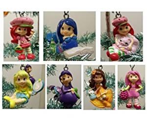 Strawberry Shortcake 7 Piece Holiday Christmas Tree Ornament Set Featuring 2' Ornaments of Strawberry Shortcake, Custard, Lemon Meringue, Blueberry Muffin, Orange Blossom, Plum Pudding, and Raspberry Torte