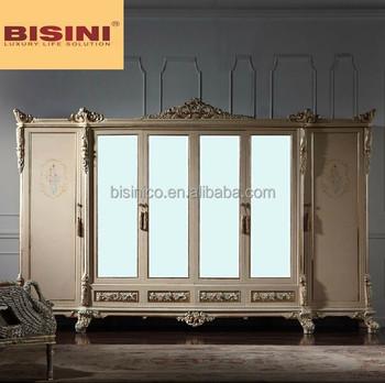 Bisini 6 Door Wooden European Style Wardrobe Closet With Mirror, Armoire