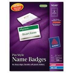 Badge Holder Kit W/laser/inkjet Insert, Top Load, 2 1/4 X 3 1/2, White, 100/bx By: Avery