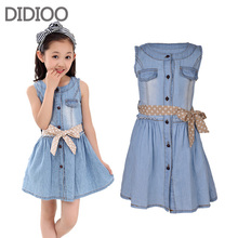 Teenage Girls Dresses Summer Style Sleeveless Denim Dress for Girls Clothing Teens Sundress kids clothes 2