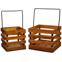 Wholesale French Style Wooden Hanging basket With Metal Handle