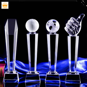 Free customized basketball football big thumb shape crystal trophy