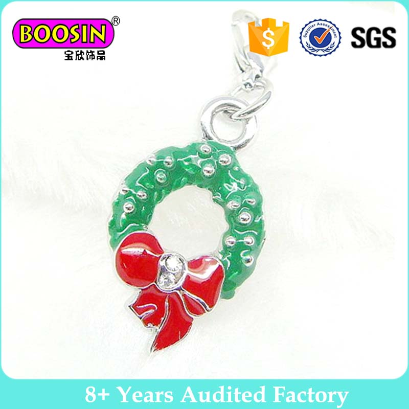Enamel Christmas Santa Claus Wreath Charms pendant for Chunky Necklace