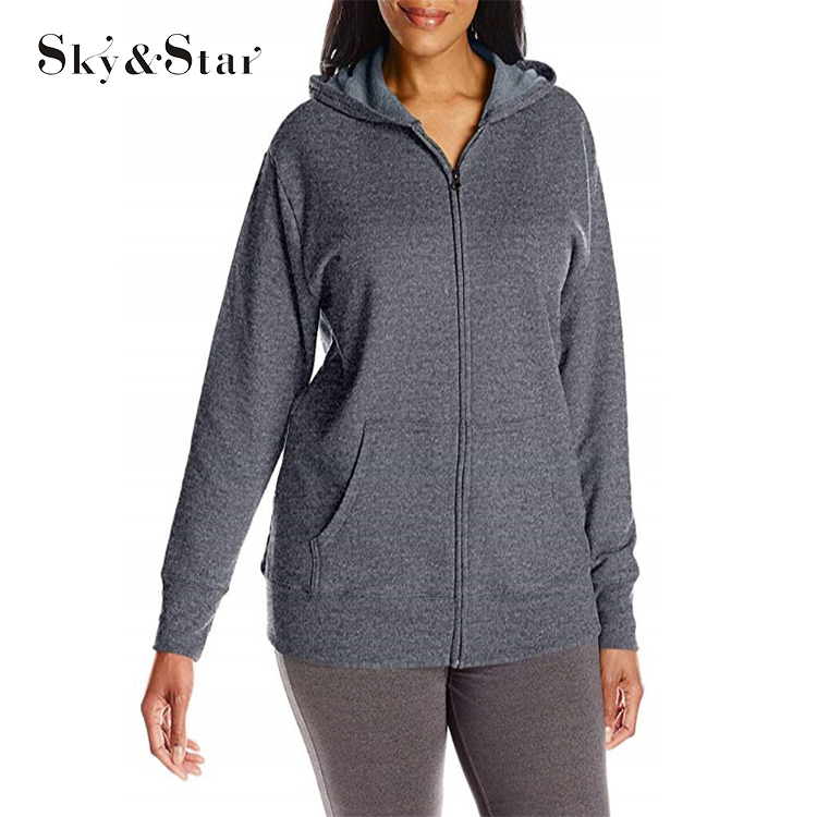 Damen Vestidos Plus Size Full Zip Fleece Hoodie Damen Kapuzenpullover