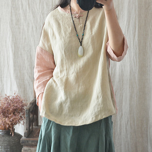 Newest Big Size Women Loose Cotton Linen Handmade Dress Woman Clothes