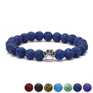 New Arrival Beaded Bracelet Natural Colorful Lava Volcanic Stone Dog Drops Paw Bracelets
