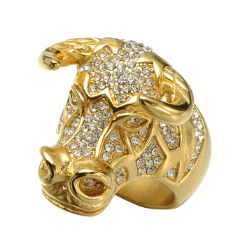 e9e2a7deed7d HIP Hop pesado grande Bling helado Bull Tau Mens Singet anillo oro Color  titanio diseños del