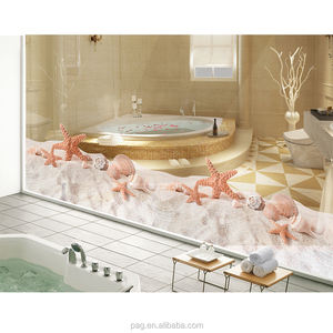 Pag 2017 new products transparent glass sticker vinyl plastic bathroom mirror stickers of beach shell
