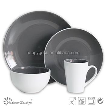 Round shape dinnerware set stoneware dinner set grey white color two tone dinnerware set  sc 1 st  Alibaba & Round Shape Dinnerware Set Stoneware Dinner Set Grey White Color Two ...