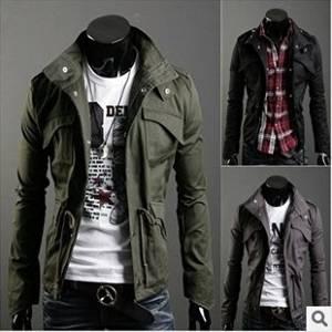 101b33fc28a1d Get Quotations · Fifishow Korean men s casual jacket jacket coat Navy blue  XL