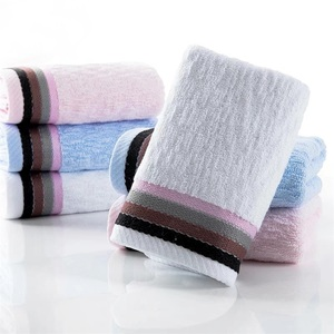 Color stripe lace embroidery 100% cotton face towel