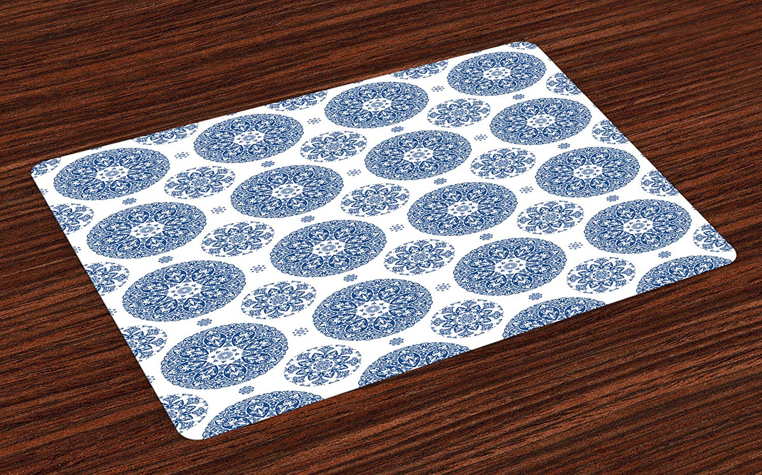 Ambesonne Vintage Place Mats Set of 4, French Country Style Floral Circular Pattern Lace Ornamental Snowflake Design Print, Washable Fabric Placemats for Dining Room Kitchen Table Decor, Blue White