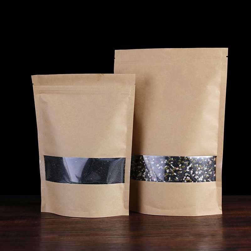 Disposable kraft pape food paper bag with windows