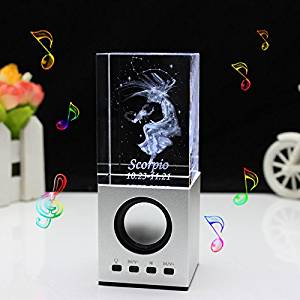 LIWUYOU Christmas Gifts Engraved Crystal 3D Constellation of Scorpio Colorful LED Light Portable Speaker, Scorpio