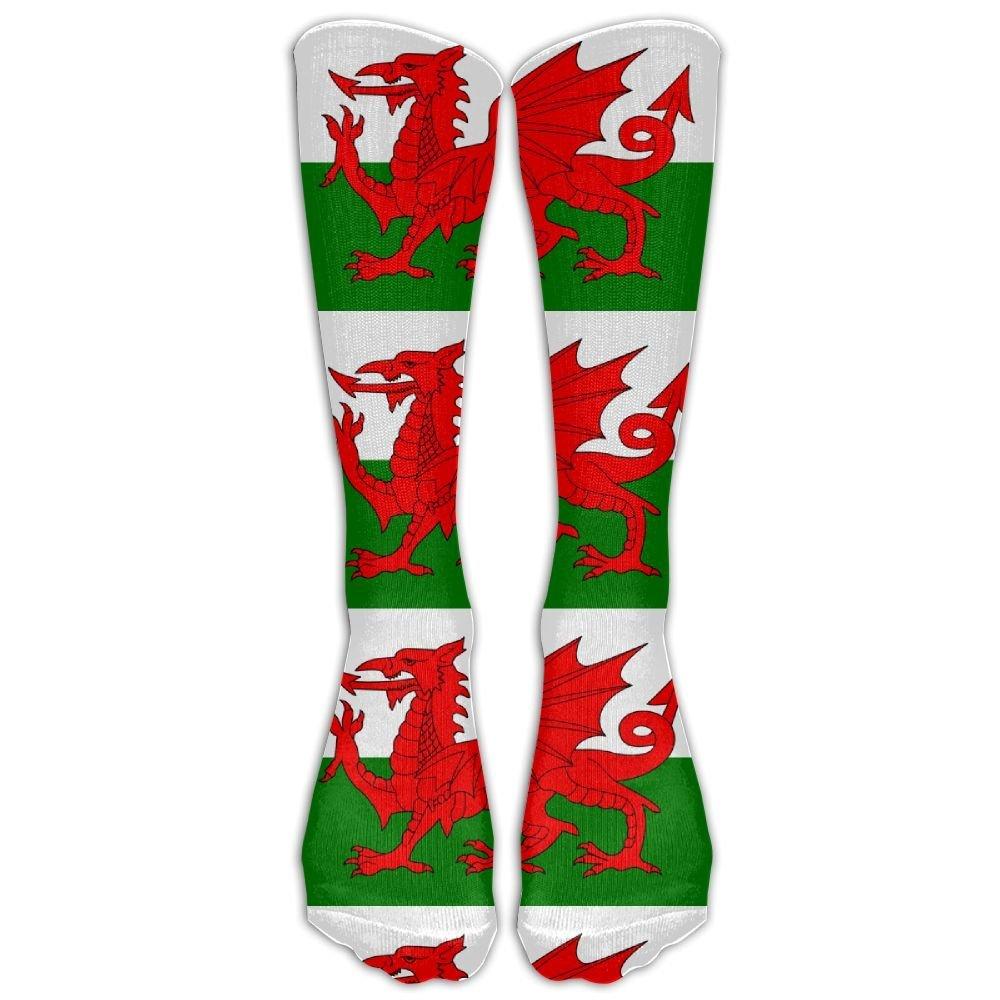 Women Men Half USA Half Wales Flag Athletic Crew Socks