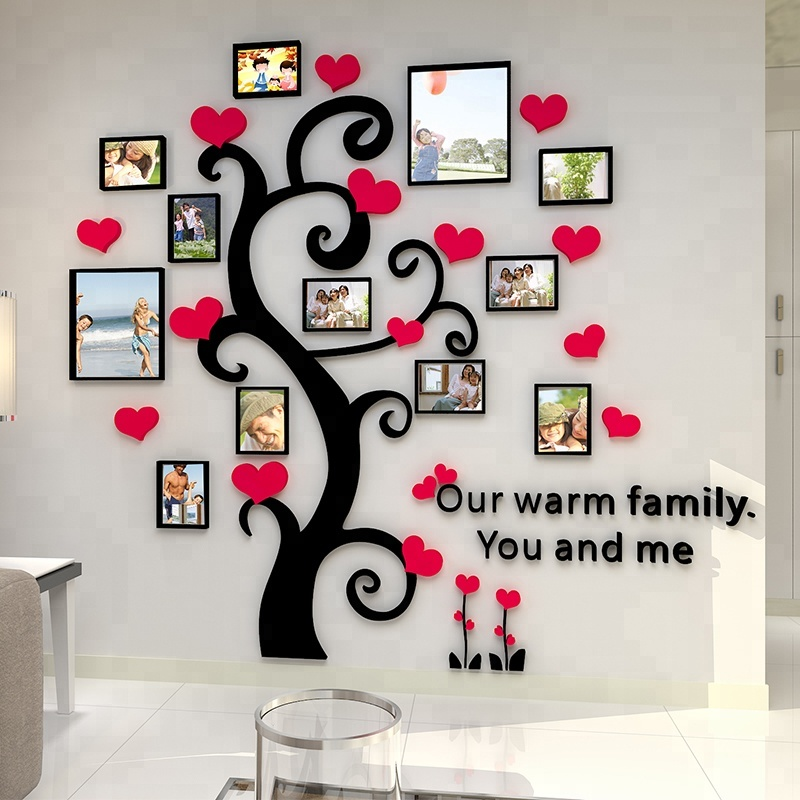 Diy Home Decor Black Acrylic Photo Frame Tree Wall Decal Removable