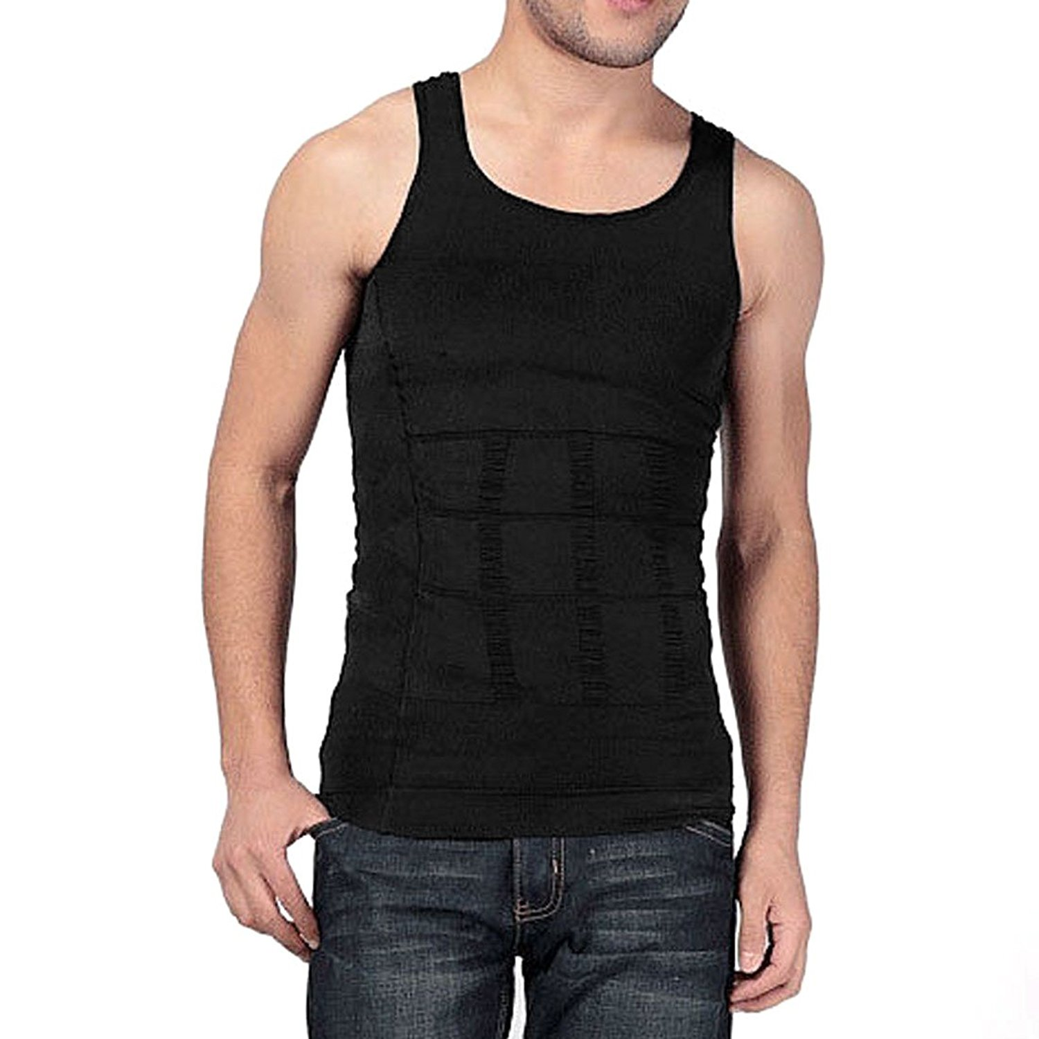 b9c2a5ab19e Get Quotations · Mens Instantly Slimming Compression Tshirt