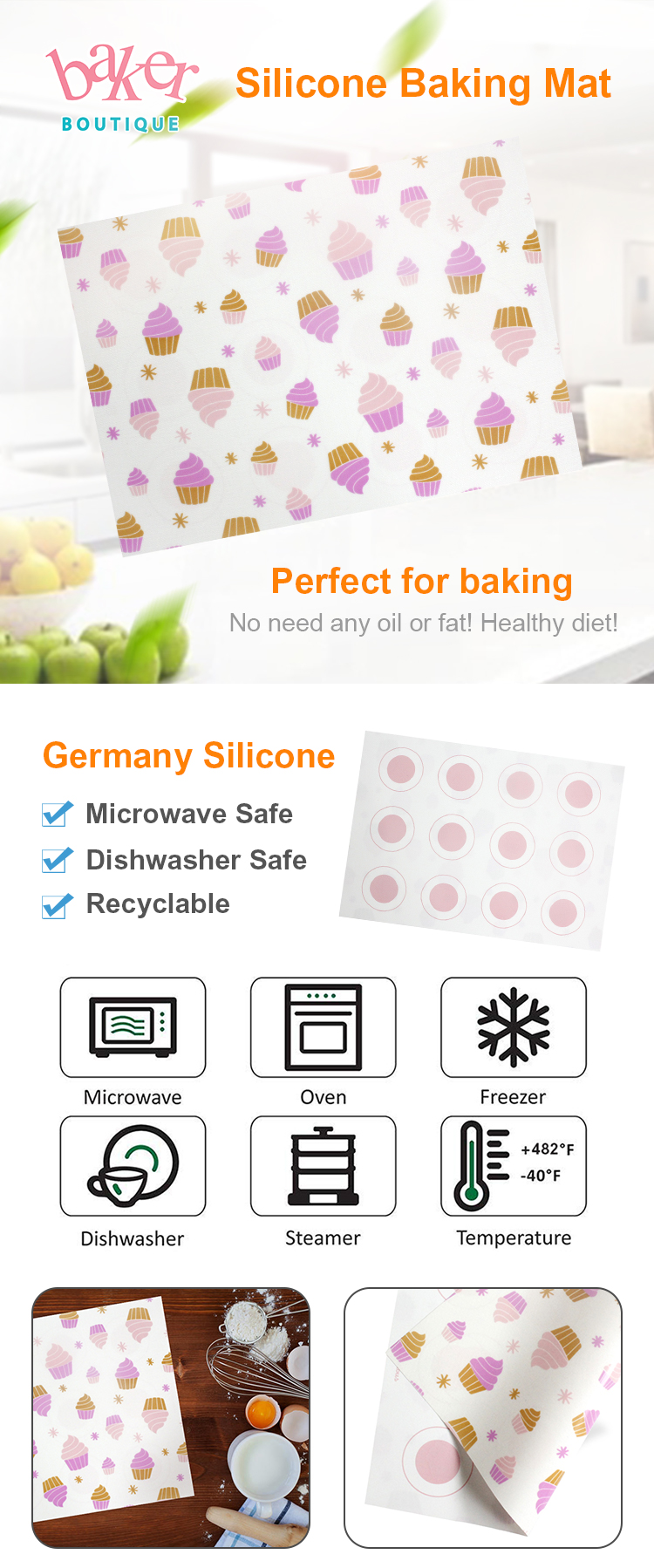 Rubber Pastry Baking Mat for Oven Flexible Silicone Baking Sheets