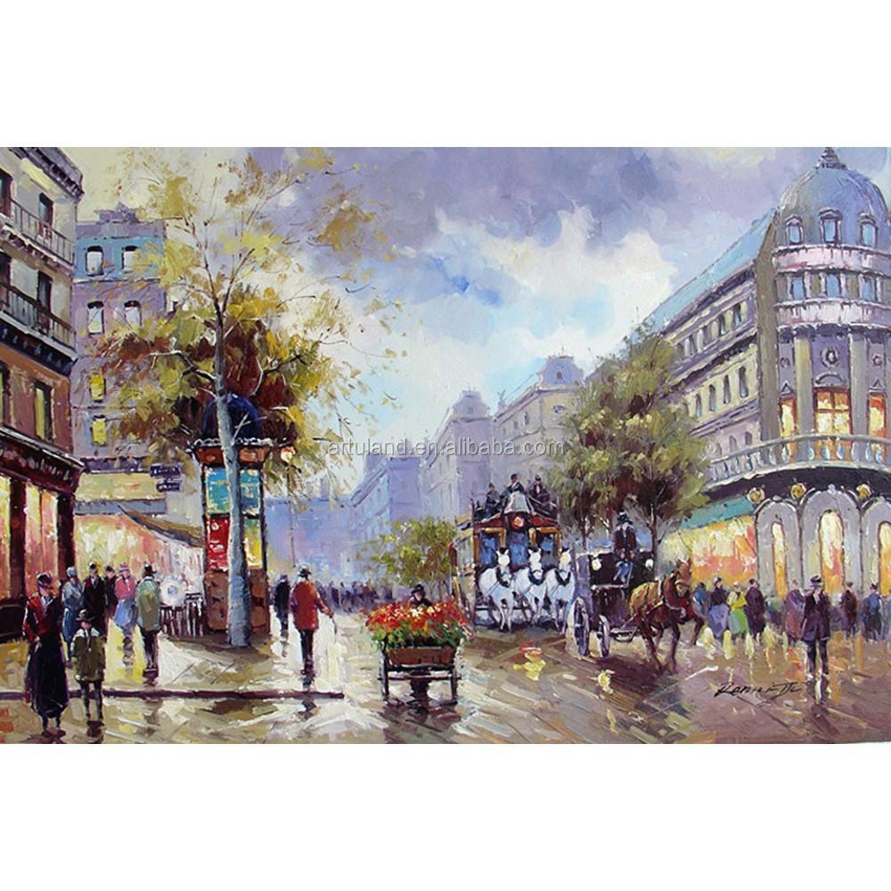 Bellissimo paesaggio dipinti di parigi di strada scena pittura a olio su tela di porcellana per - Landscaping parijs ...