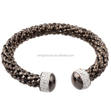 Black Gunmetal Stainless Steel Bangle with STELLUX austrian crystal