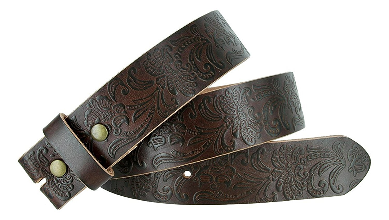 "Western Floral Engraved Tooled Full Grain Leather Belt Strap 1-1/2"" wide"