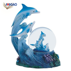 Ocean Wave Water Globe Animal Decor Collectible Family Dancing LED Dolphin Snow Globe