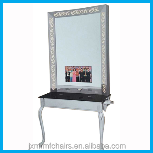 Stainless steel mirror stations with table and TV beauty salon mirror for hot sale JX002-1