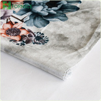 High quality 100% polyester warp knitted italian velvet flowers printed fabrics for sofa upholstery