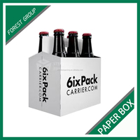 GLOSSY WHITE KRAFT PAPER WINE PACKAGNG CARRIERS WITH CUSTOM LOGOS