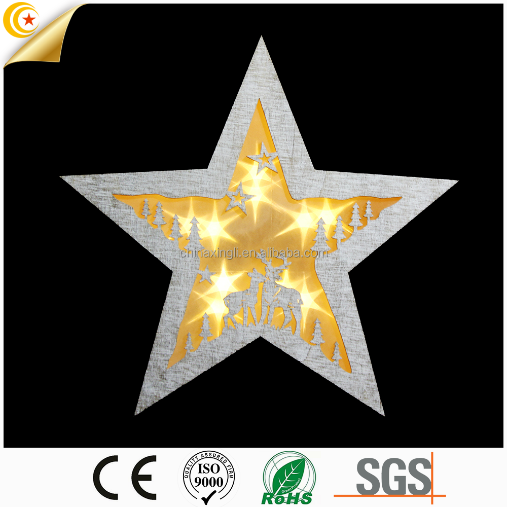 2017 newest led wooden handmade five-pointed star light for home ornament shaped xmas decorative wooden star light