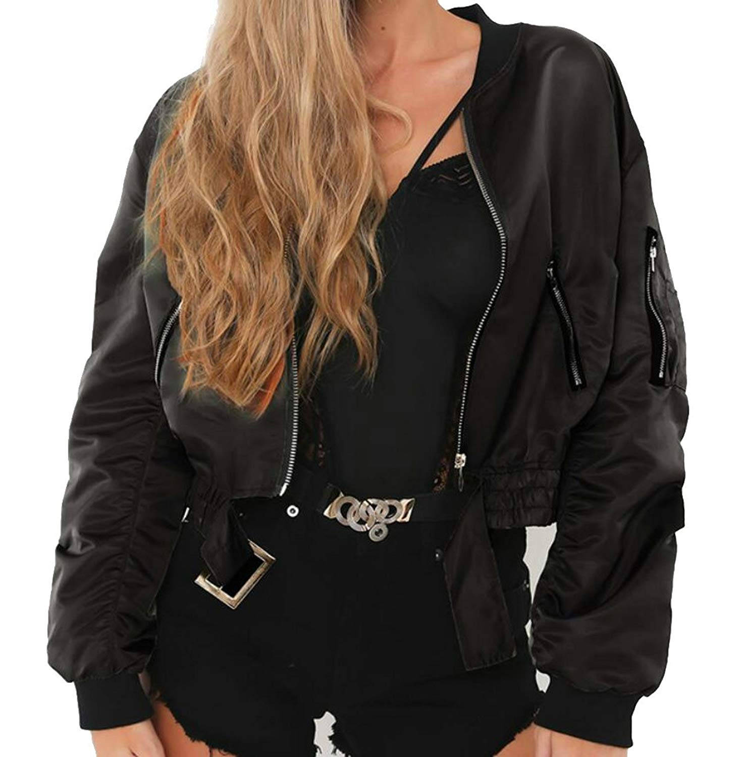 ARTFFEL-Women Fashion Classic Front Zip Short Padded Bomber Quilted Jacket