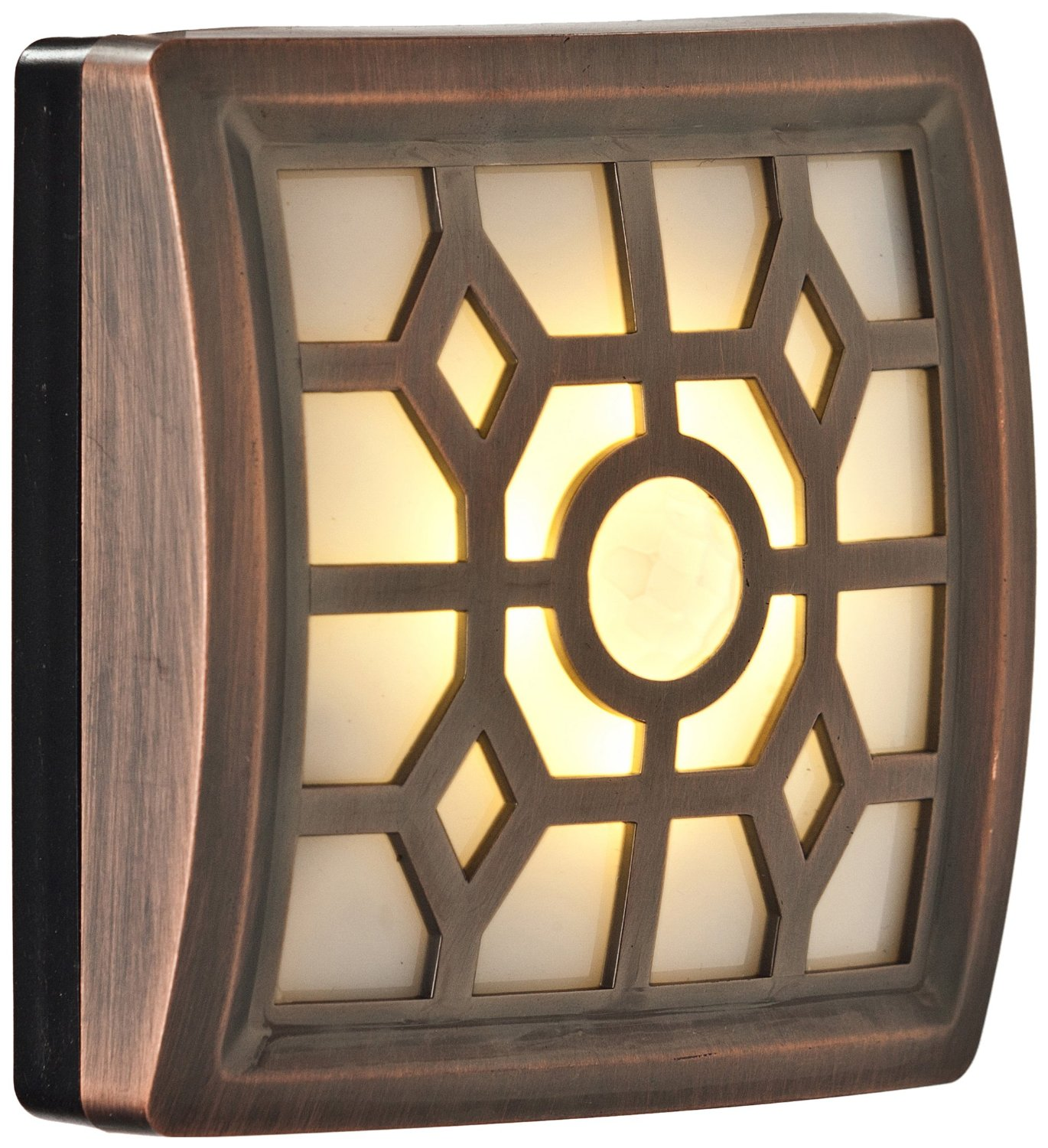 Light It! by Fulcrum 30300-307, 4 LED Wireless Soft-Glow Indoor/Outdoor Motion Sensor Light with Filigree Pattern, 3.5 Inch, Bronze