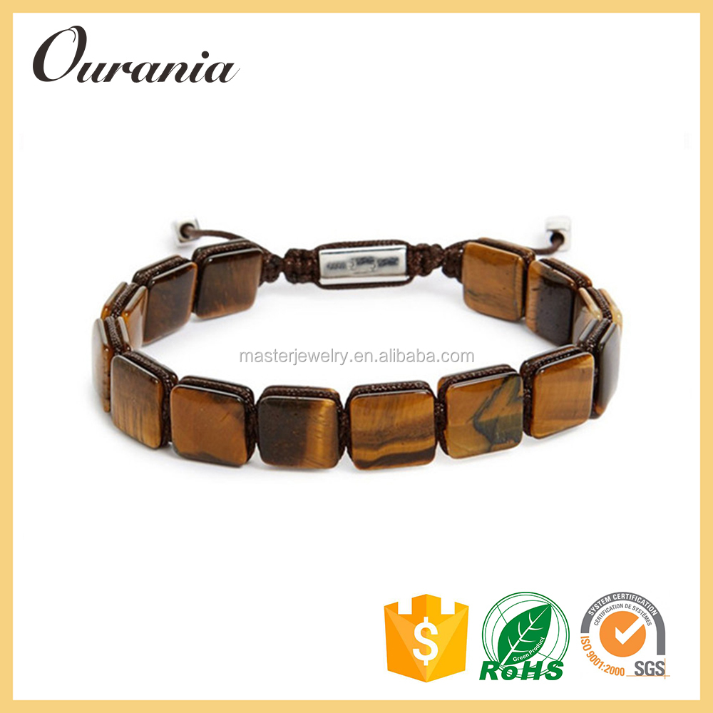 Custom Color Design OEM ODM Square Tiger Eyes Bracelet