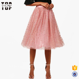 Wholesale tulle skirt long tulle skirt women skirts women in pink with stars