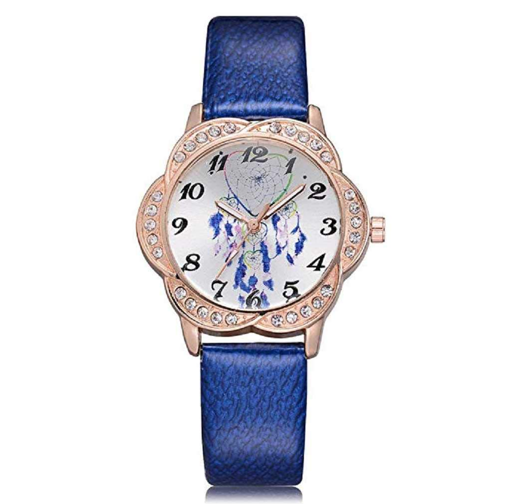 Clearance Sale! Womens Watches,ICHQ Womens Quartz Watches Fashion Metal Retro Round Dial Quartz Analog Alloy Wrist Watch with Leather Band (Blue)