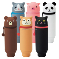 Cute Cartoon Printing Silicone Stand Up Pen Case Pencil Bag