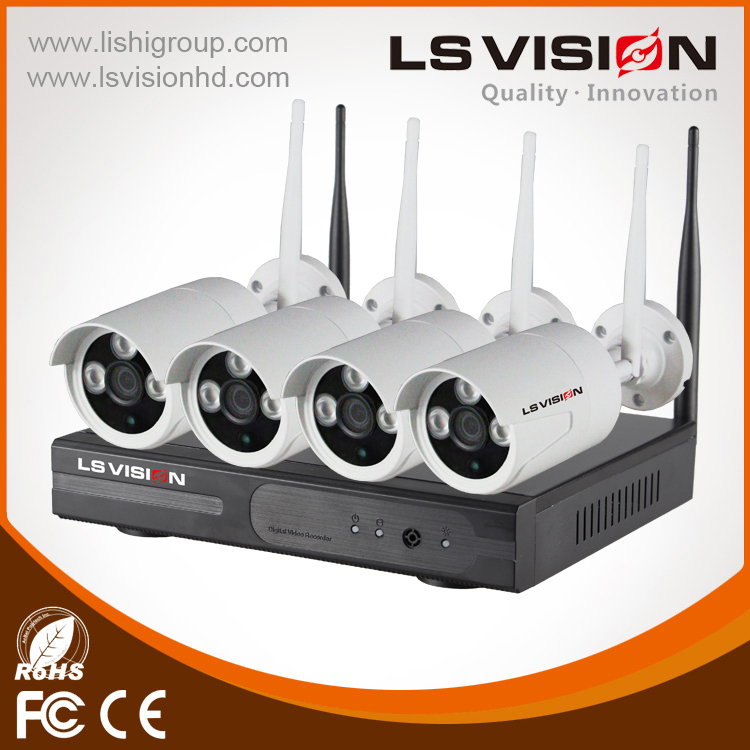 LS Vision Hot Selling wifi 70m distance wireless 4ch 1080P ip vivesion camera monitor for choose