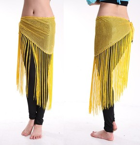 100% Hand Make India Shawl Be lly Dance Popular Yellow Tassel Hip Scarf