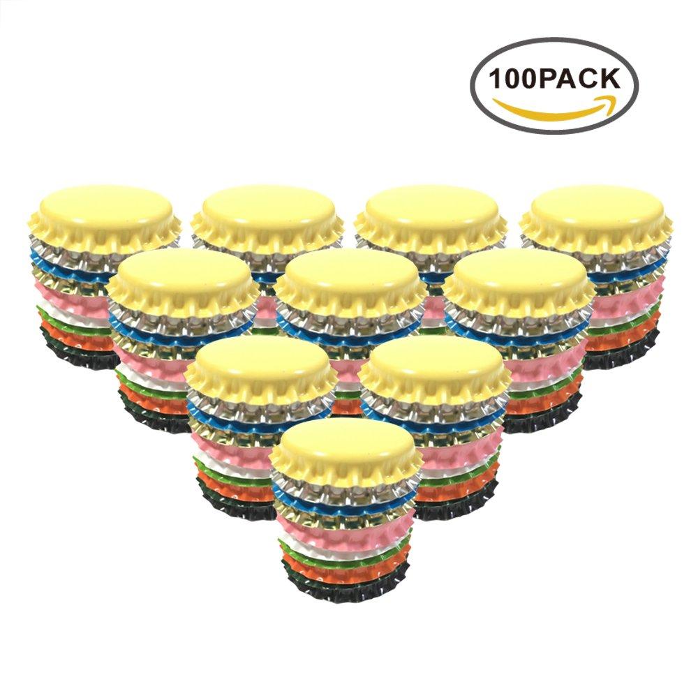 HAWORTHS 100 PCS Crown Bottle CaPs Decorative Bottle CaP Double Sideds Printed Craft Bottle Stickers for Hair Bows, DIY Pendants or Craft ScraPbooks Mixed Colors(10colors)