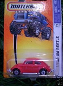 Matchbox 1962 VW Volkswagen Beetle-red #21 disc wheels by mattel